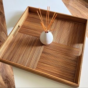 Crate & Barrel Square Bamboo Tray